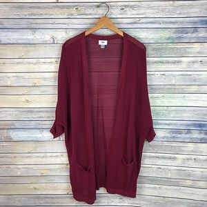 Old Navy Maroon Open Front Oversize Knit Cardigan